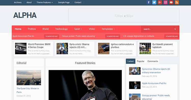 Download Alpha – Magazine WordPress Theme