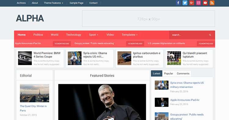 Alpha – Magazine WordPress Theme