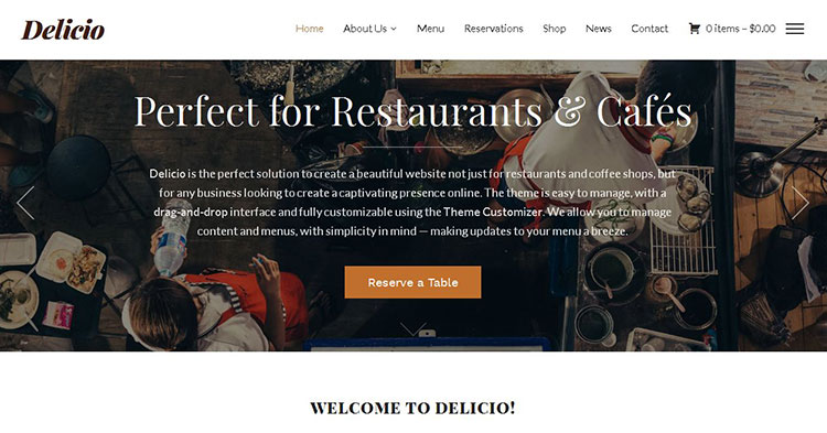 Delicio Restaurant WordPress Theme