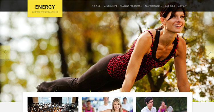 Energy Gym Fitness WordPress Theme