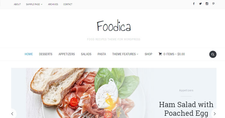 Foodica Food Blog WordPress Theme
