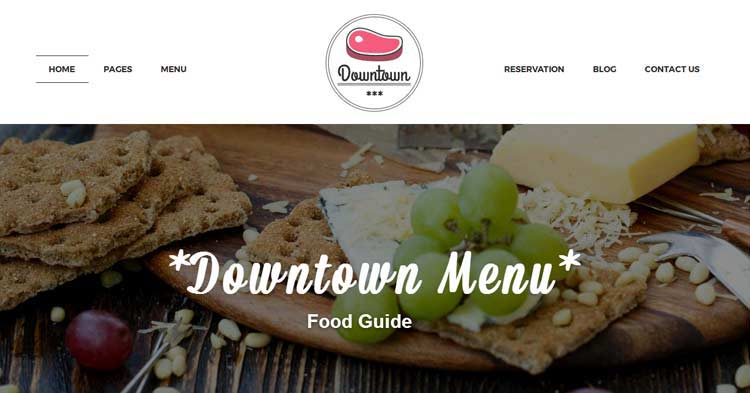 Downtown Restaurant WordPress Theme