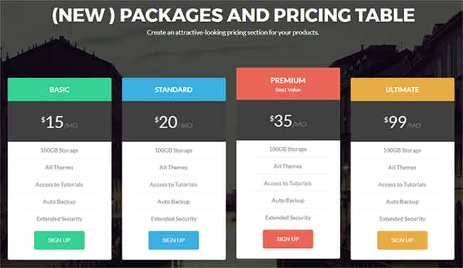 Zelle Pro - Pricing Tables Section