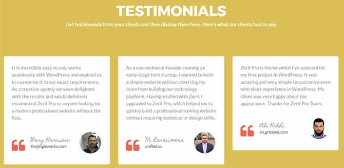 Testimonials Section in Zelle Pro theme