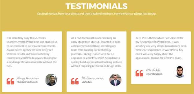 Testimonials Section in Zelle Pro theme