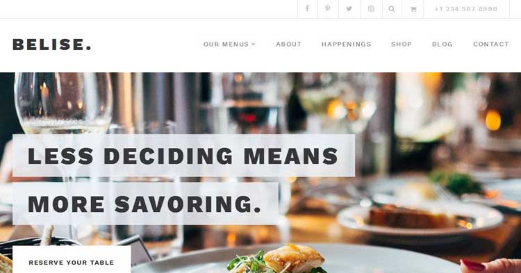 Belise WordPress Restaurant WP Theme