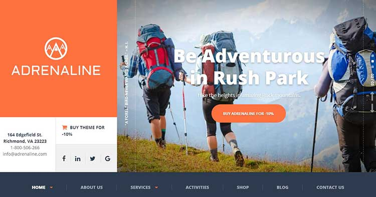 Adrenaline Sports Adeventure WP Theme
