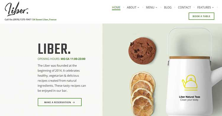 Download Liber Restaurant Cafe WordPress Theme