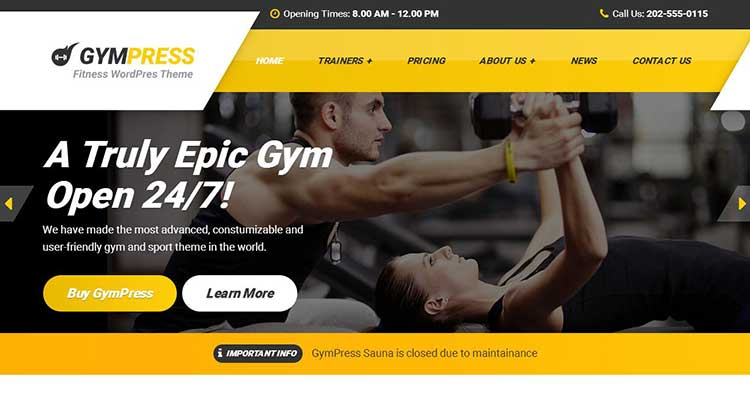 Download GymPress Sports Fitness WordPress Theme
