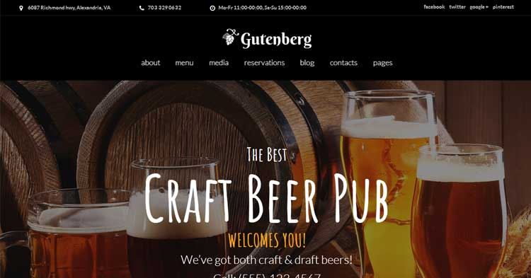 Download GutenBerg Brewery WordPress Theme