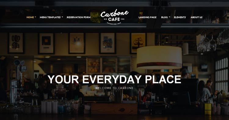 Download Carbone Cafe Restaurant WP Theme