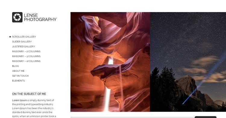 Lense Photography WordPress Theme