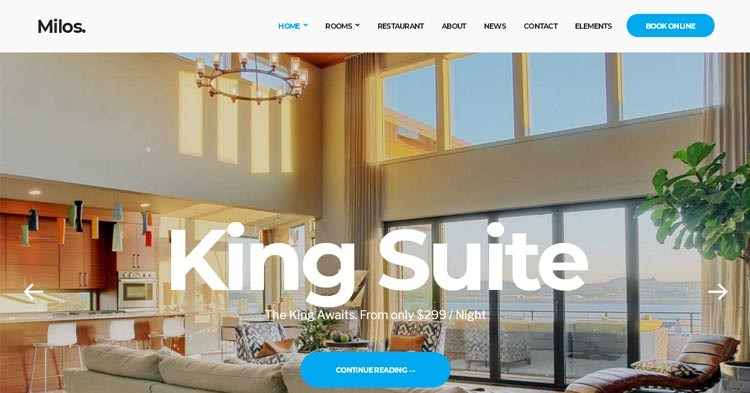 Download Milos Hotel Booking WP Theme