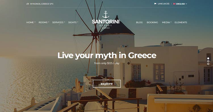 Download Santorini Resort WordPress Theme
