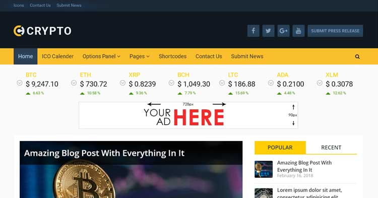Download Crypto Powerful Bitcoin WordPress Theme