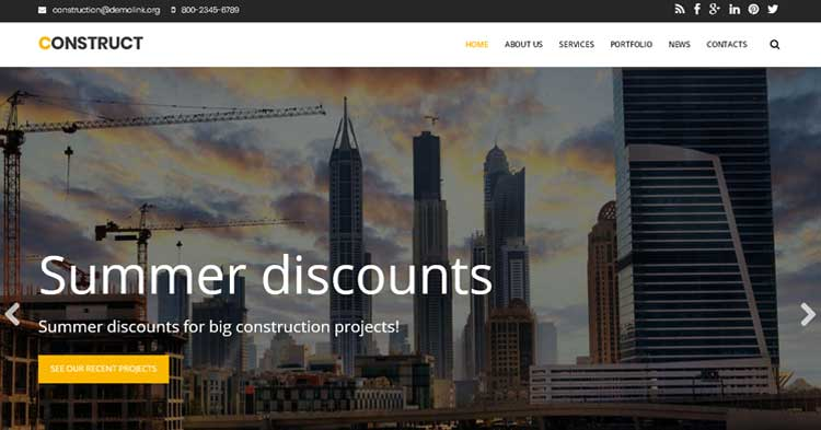 Download Construct Construction Drupal Template