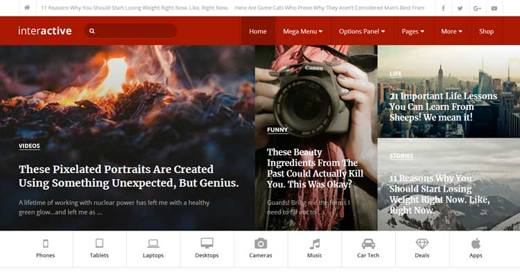 Download Interactive Blog Magazine WP Theme