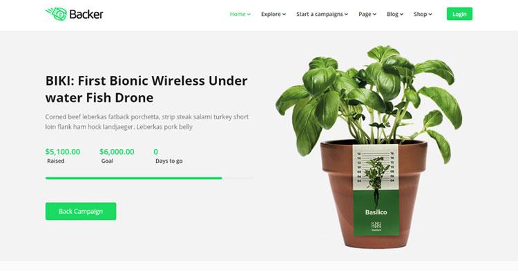 Backer Crowdfunding Fundraising WP Theme