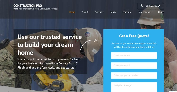 Download Construction Landing Page Pro WP Theme