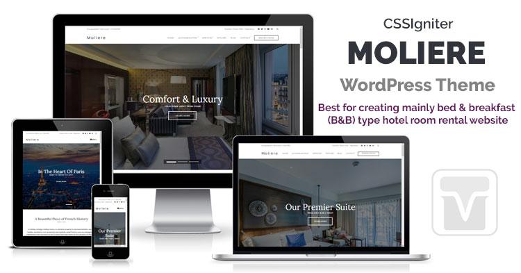 Download CSSIgniter - Moliere WordPress theme for Inn, Hotel Room Rental or Bed & Breakfast (B&B) type Website