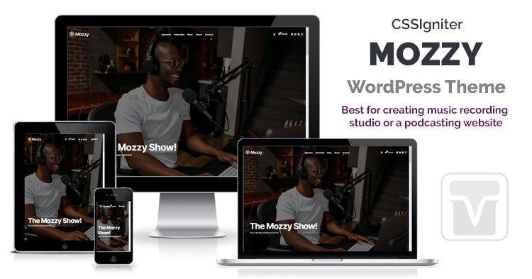 Download CSSIgniter - Mozzy WordPress theme podcasters, music bands, vlogs, and other multimedia websites.