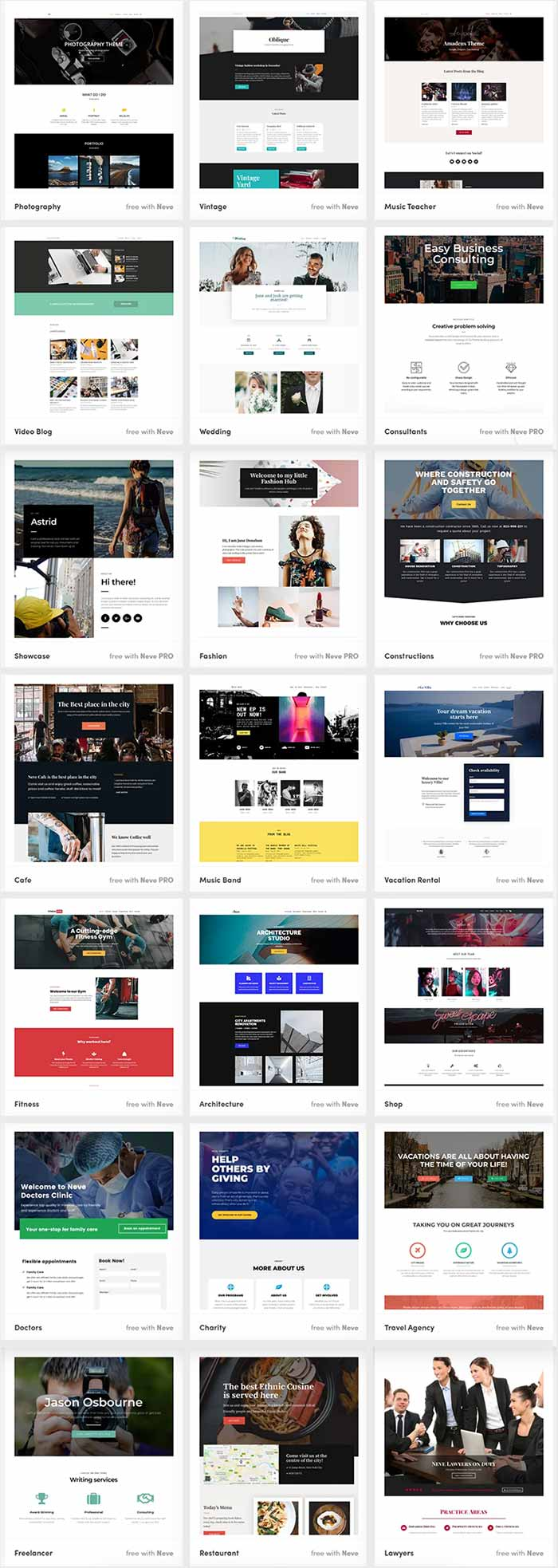 Neve Pro theme - Neve Starter Sites Demos for different niche websites