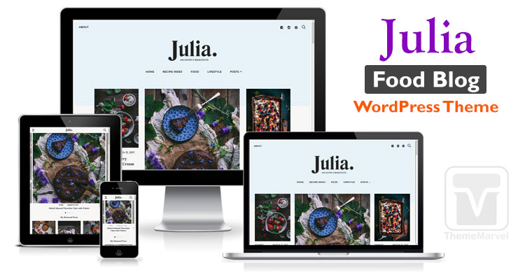 Julia Food Blog / Recipe Blog WordPress theme download