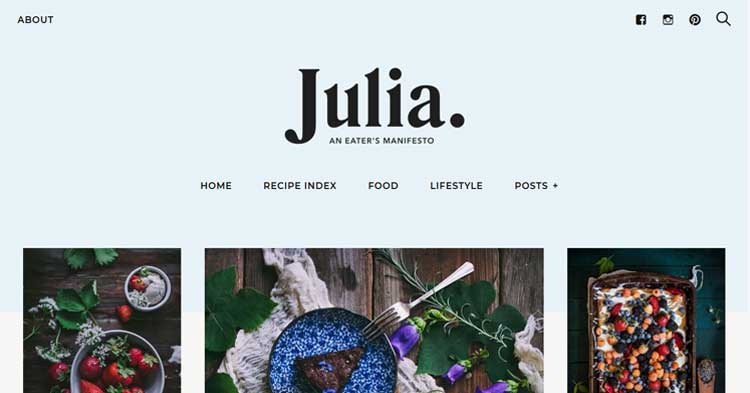 Julia Food Blog WordPress Theme