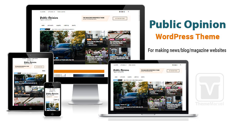 Download Public Opinion theme for creating news / blog / magazine website