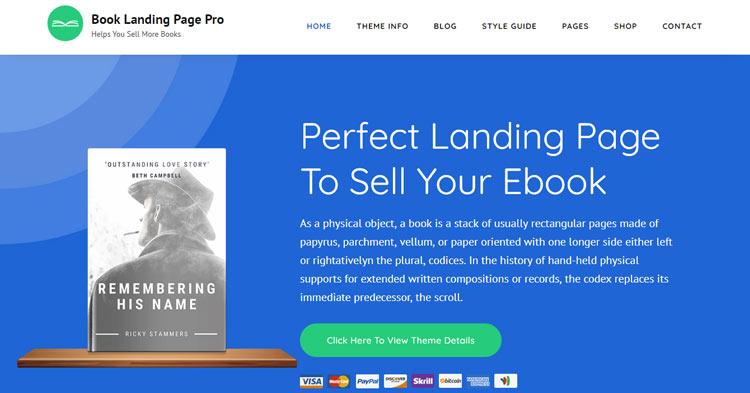 Download Book Landing Page Pro WordPress Theme