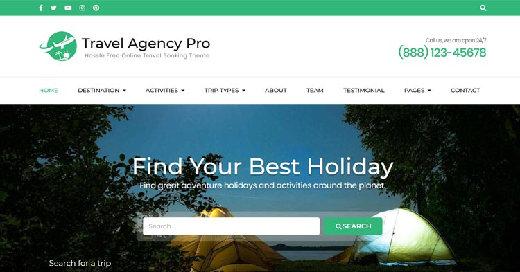 Download Travel Agency Pro WordPress Theme