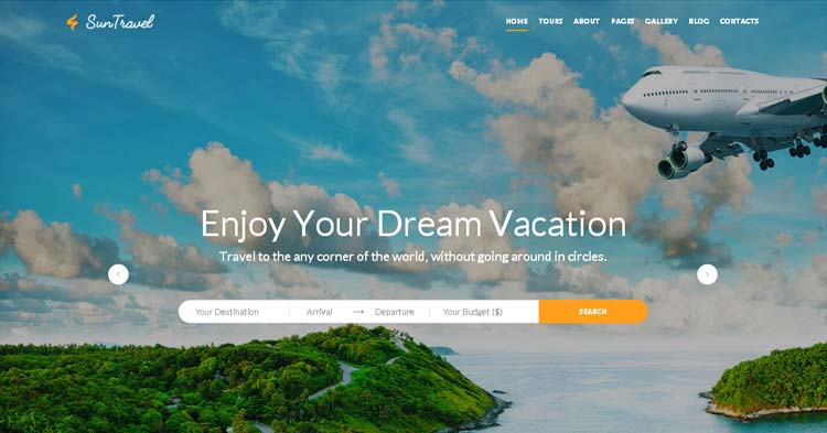 Download Sun Travel Agency Website Template