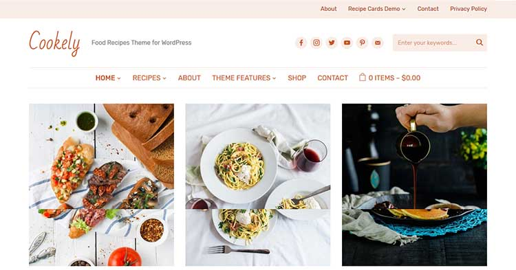 Cookely Food Recipe Blog WP Theme