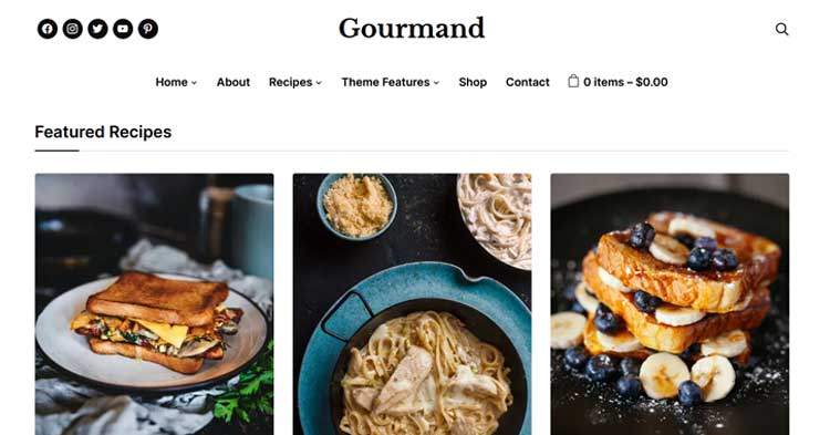 Gourmand Food Blog WordPress Theme
